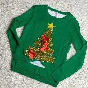 UGLY CHRISTMAS SWEATER TINSIL XMAS TREE Sz M